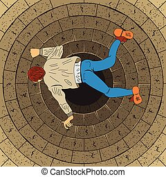 free fall - Top view free fall man to endless hole vector...