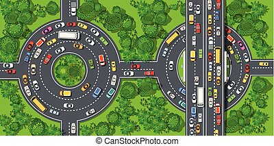 Top view from above on a city street with cars and people