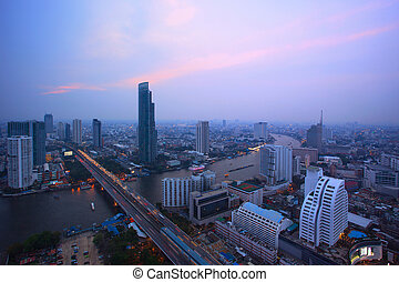 top view from bangkok sky scrapper looking to the west see...