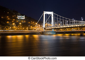 top view from the Pest side of the Elisabeth Bridge in Budapest at night