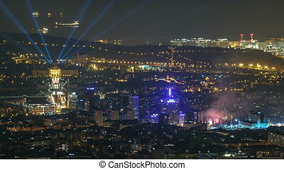 Top view from tibidabo of National Art Museum timelapse at Placa Espanya in Barcelona day to night, Catalonia, Spain
