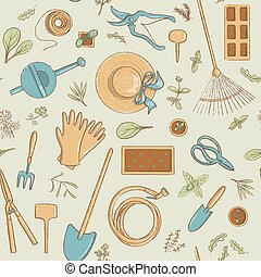 Top view gardening icon seamless pattern set. Collection of useful horticulture tools spade, hat etc.