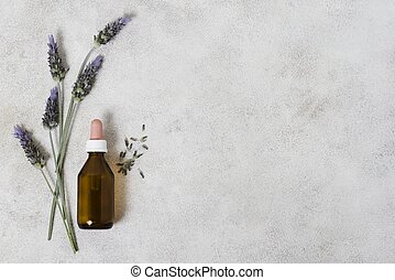 top view glass bottle lavender copy space (1). High quality and resolution beautiful photo concept