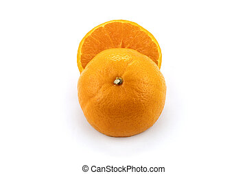 Top view half orange isolated on white background. Save with clipping path.