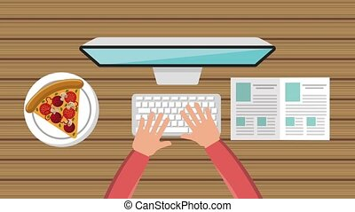 top view hands working on her laptop with pizza and open book at wooden table