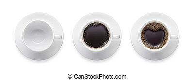 Top view - heart shape or love symbol on coffee cup, empty coffee cup, black hot coffee cup. 3 style coffee cup isolate on white background with clip path.