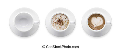 Top view - heart shape or love symbol on coffee cup, empty coffee cup, mocha and cappuccino coffee cup. 3 style coffee cup isolate on white background with clip path.