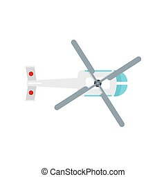 Top view helicopter icon, flat style