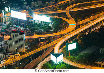 Top view, Highway intersection night view