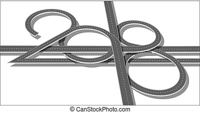 Top view highway with 2018 figures. Numbers of year in shape...