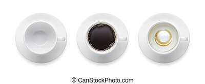 Top view - hot black coffee cup, empty coffee cup, 3 style coffee cup isolate on white background with clip path.