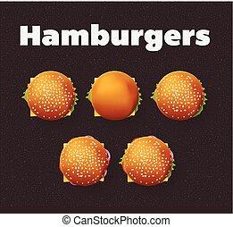 Top view illustration of hamburgers. Realistic vector set. -...
