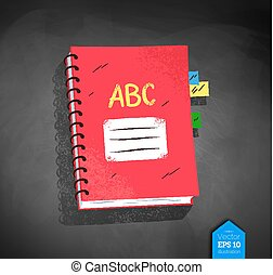 Top view illustration of school notebook