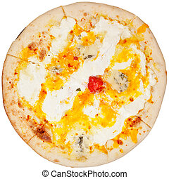 top view italian pizza Quatro formaggi isolated on white background