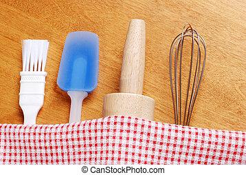 kitchen baking utensils - top view kitchen baking utensils