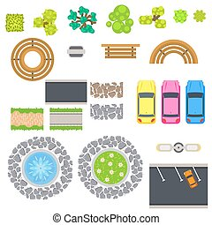 Top view landscape vector isolated objects. Park benches,...