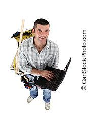 top-view, laptop, carpentiere