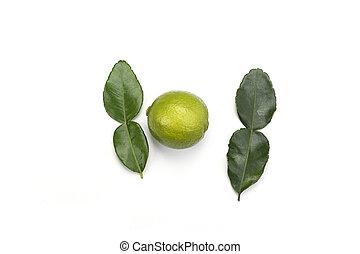 Top view. Leaves and lime fruit