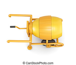 Top view manual mortar mixer isolated on white background. 3d re