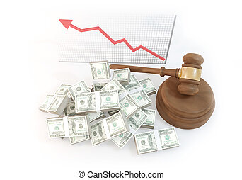top view many Money for auction with business chart