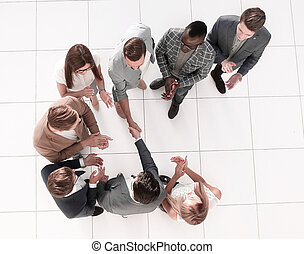 top view. meeting business partners in the office
