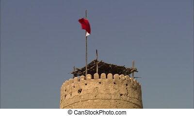 Top View | Mud-brick Tower, Al Fihidi Fort, Dubai - Close-up...