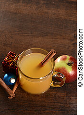 top view mulled apple cider with cinnamon stick