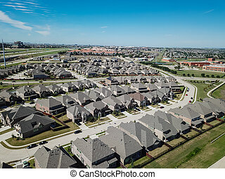 Top view new development area with residential houses, highway a