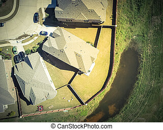 Top view new residential houses neighborhood with garden suburbs