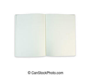 Top view notebook on white background
