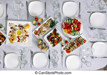Top view of a banquet table.