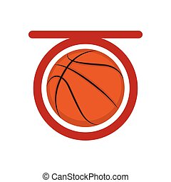Top view of a basketball ball on a net