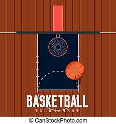 Top view of a basketball court