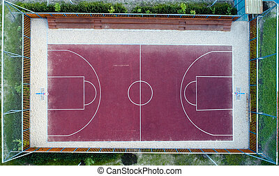 Top view of a basketball court without people.