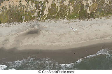 Top view of a beach on the California coast
