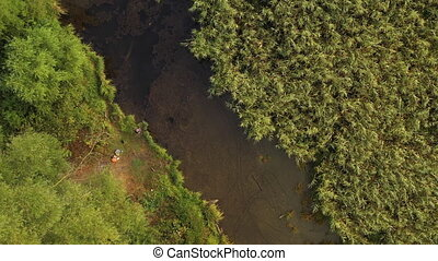 Top view of a beautiful autumn forest. Top view of a river flowing between trees. Beautiful nature without people. Travel and walk through various forests on a warm autumn day.