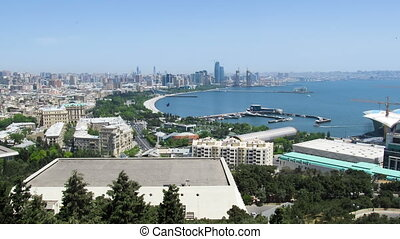 Top View of a Big City Megalopolis by the Sea at Summer Day. Baku, Azerbaijan. TimeLapse