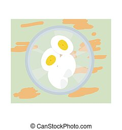 Top view of a boiled eggs