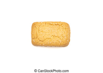 top view of a butter cookie on white background