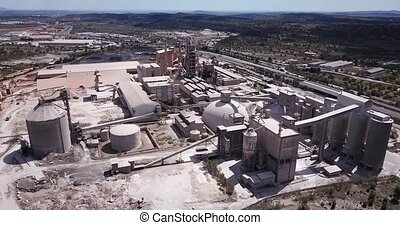 Top view of a cement factory near the city Bunol. Spain. High quality 4k footage