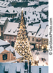 top view of a Christmas tree in city center