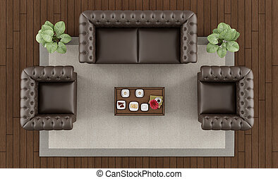 Top view of a classic living room