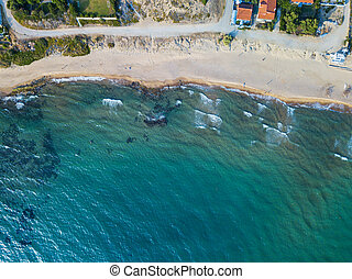 Top view of a coastal line. Aerial drone bird's eye view photo.