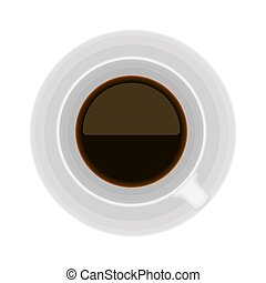 Top view of a coffee cup on white background