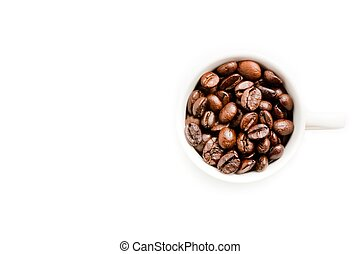 top view of a cup of coffee beans with space for text