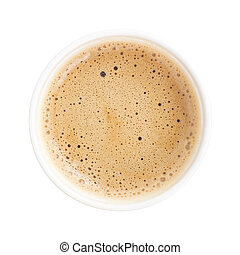 Top view of a cup of coffee isolated on white background