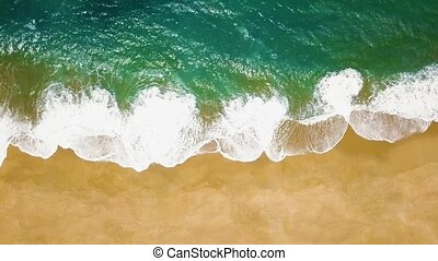 Top view of a deserted beach. The Portuguese coast of the...