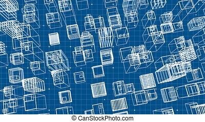 Top view of a digital 3D model of a city