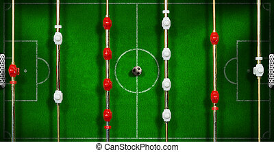 Top View of a Foosball with Soccer Ball