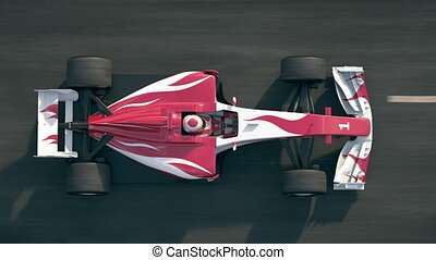Top view of a formula one race car driving over finish line